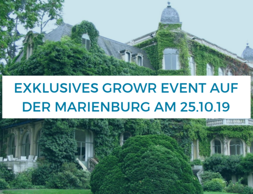 Exklusives growr Event auf der Marienburg am 25.10.19